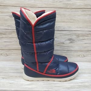 The North Face Red & Blue Puffy Snow Boots